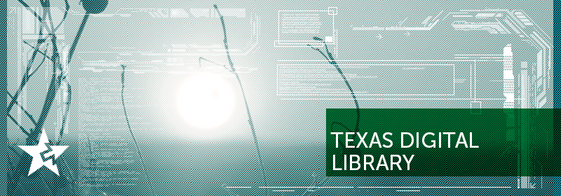 A star and computer code on a green brackground with the text: Texas Digital Library.