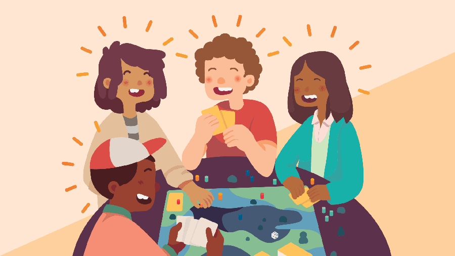 illustration of three people playing video games with event information text