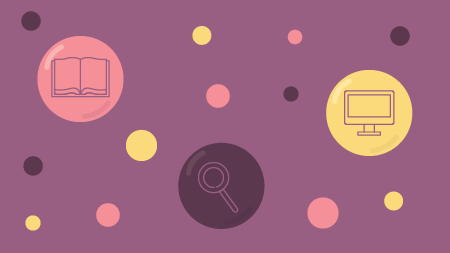 colorful circles with icons on a mauve background