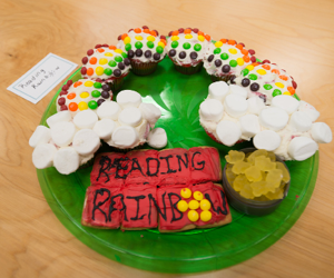 Image of the Reading Rainbow made of cupcakes and skittles.