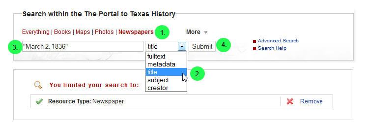 Screen capture of searching newspapers by date in The Portal to Texas History