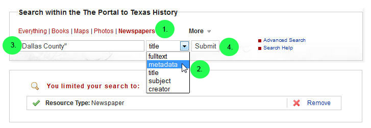screen capture of searching newspapers by location in The Portal to Texas History