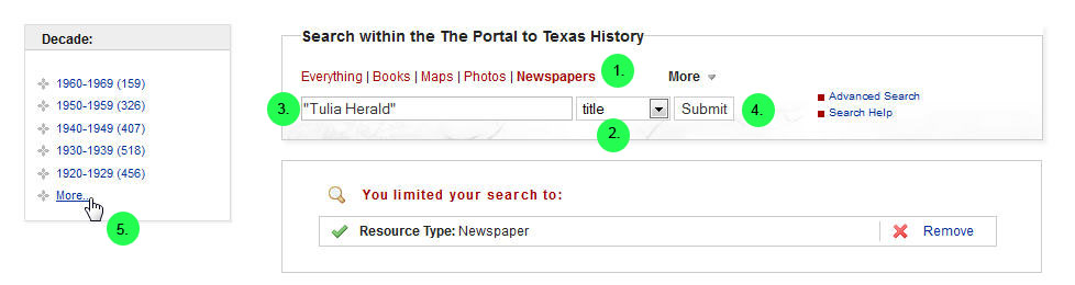 screen capture of selecting dates from facets in the sidebar of The Portal to Texas History
