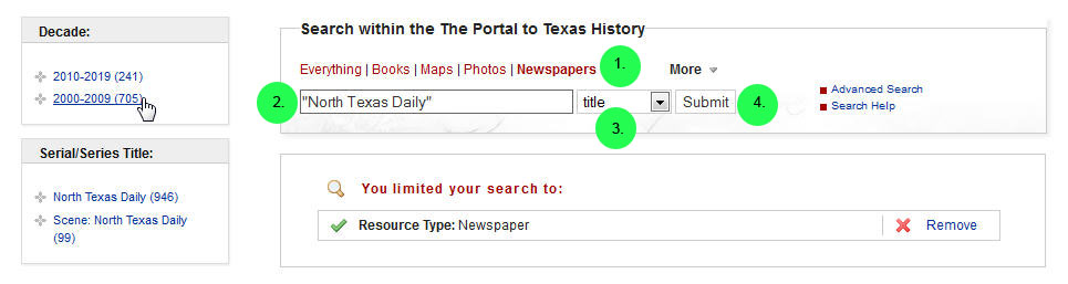 screen capture of searching for a particular newspaper title and decade in The Portal to Texas History