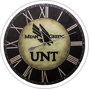 roman numeral analog clock with UNT eagle logo