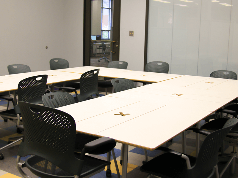 study room with tables and chairs