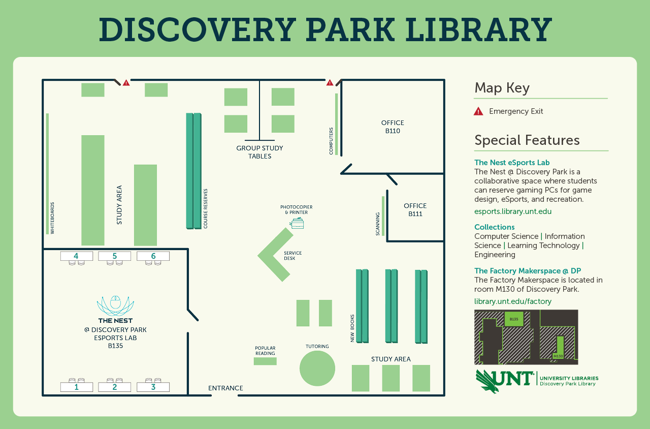 Discovery park library map