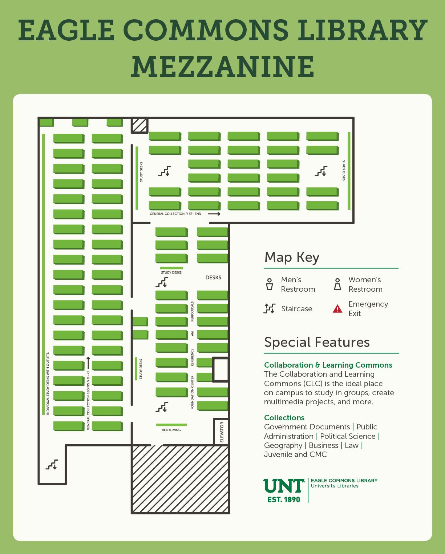 Eagle commons library mezzanine level map