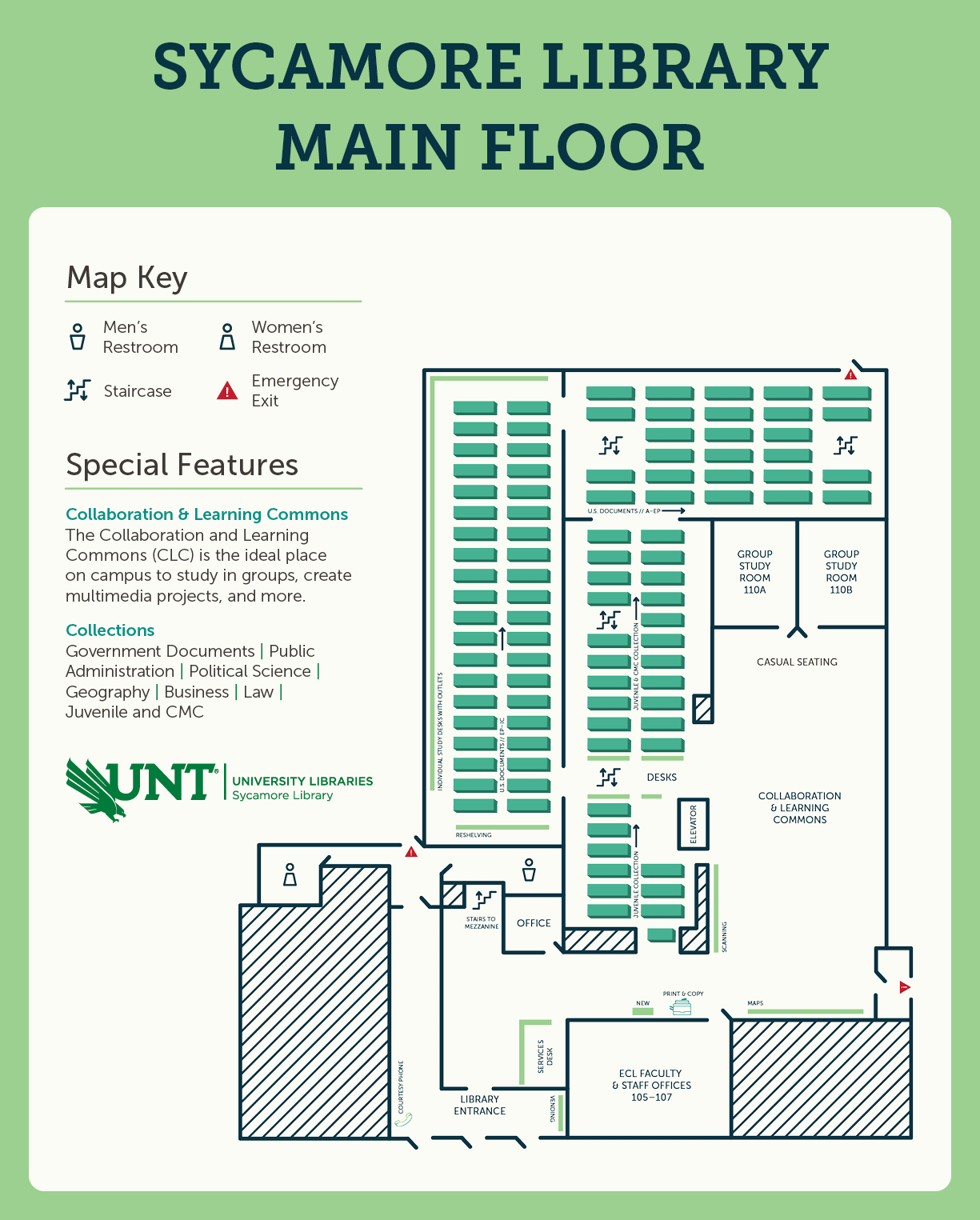 Sycamore Library main floor map