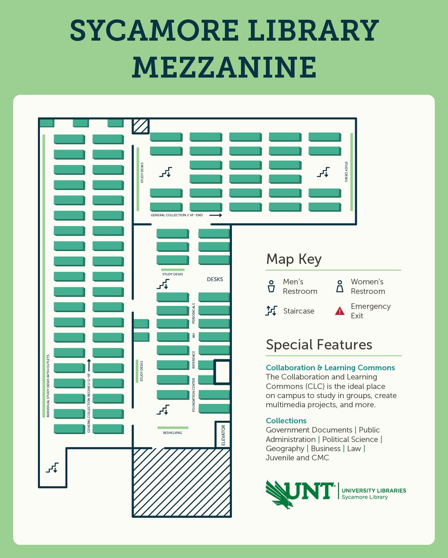 Sycamore Library mezzanine level map