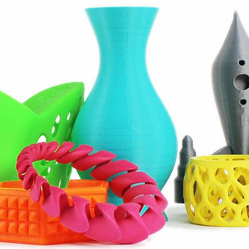several 3D items