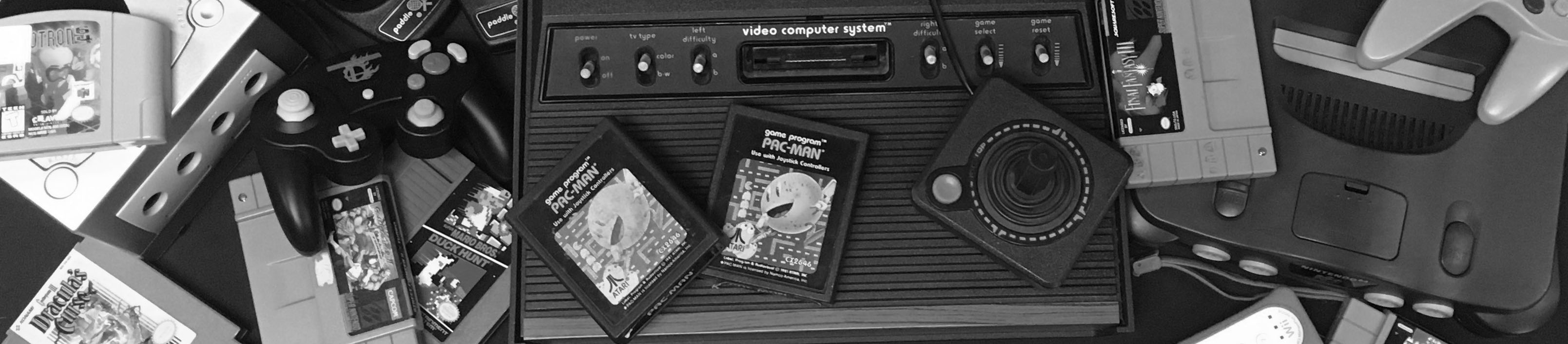 Banner with image of old consoles and games