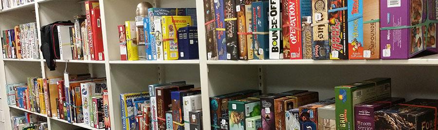 Tabletop games on shelf